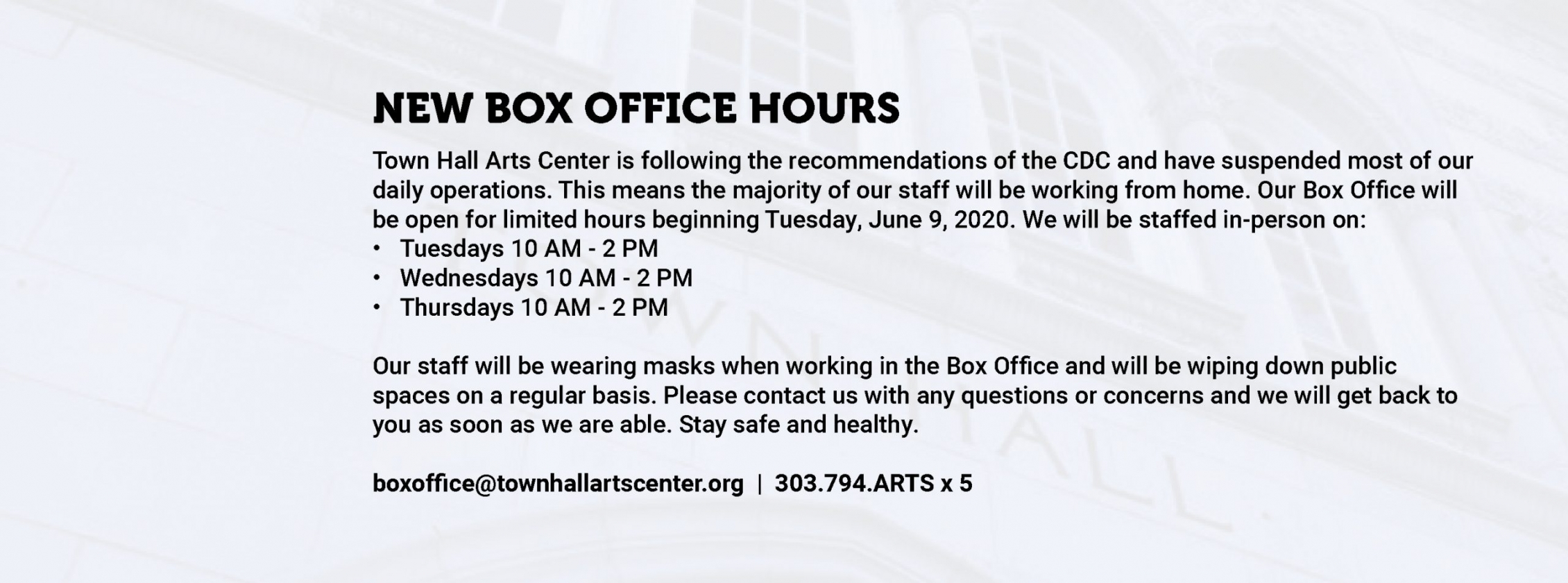 New Box Office Hours